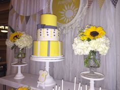 Yellow cake at a You are my sunshine baby shower party! See more party ideas at CatchMyParty.com!