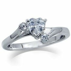 Heart Shape White CZ 925 Sterling Silver Engagement Ring Silvershake. $22.99