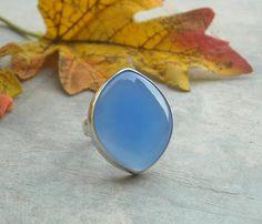 Blue chalcedony ring  Blue ring  Bezel ring  by Studio1980 on Etsy