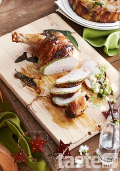 Interesting stuffed Christmas Turkey photo + layout - pops of red and green to enhance the 'Christmas feel'