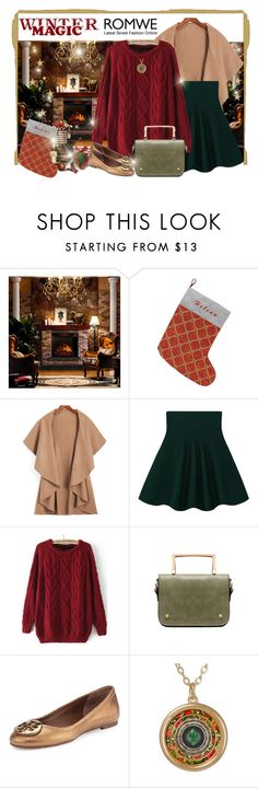 """""""ROMWE Wine Red Sweater"""" by elena-indolfi ❤ liked on Polyvore featuring Corvus and Tory Burch"""