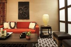 ♥ Burnt Orange Living Room Tone Color Home Interior Burnt Orange Living Room. As we know, living room is one of important room at the house. Because it is the first place or room for welcoming the . Asian Inspired Decor, Asian Decor, Elle Decor, My Living Room, Living Room Decor, Studio Living, Burnt Orange Living Room, Asian Room, Asian House