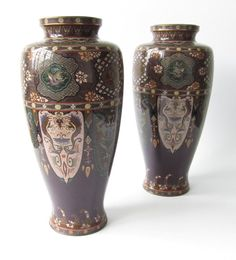 Pair of Antique Japanese Cloisonne Vases