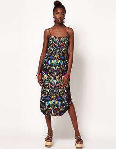 Mara Hoffman dress in mexican print mimicking Otomi embroidery ... But why polyester? Why not rayon?