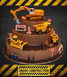 3 Tier Chocolate Buttercream Construction Cake on Cake Central Truck Birthday Cakes, Truck Cakes, Digger Birthday Cake, 4th Birthday, Construction Party Cakes, Construction Birthday Parties, Digger Cake, Chocolate Buttercream, Cake Chocolate