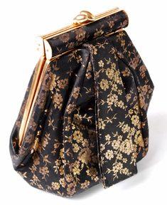 Vintage 1940s deco hexagonal satin evening handbag.