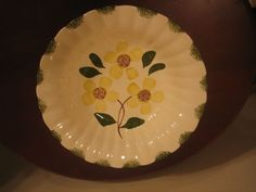 """Blue Ridge Southern Potteries Handpainted """"Cheerful"""" Daisy Round Serving  Bowl"""