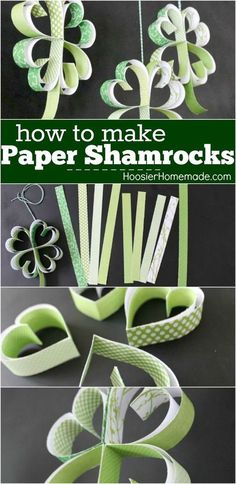 Paper Shamrocks Tutorial via Hoosier Homemade - Learn how to make these adorable Paper Shamrocks! A fun St. Patrick's Day Craft that the kids can help with too! Just a few simple supplies needed! Pin to your St. Patrick's Day Board!