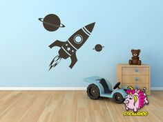 Outer Space Wall Decal - Nursery Wall Decals - Rocket Wall Decal - Rocket Sticker - 0083 | Kids wall decals Wall decals and Spaces & Outer Space Wall Decal - Nursery Wall Decals - Rocket Wall Decal ...