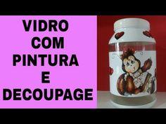 DIY- VIDRO RECICLADO COM PINTURA E DECOUPAGE BY- MARCIA BISCUIT - YouTube
