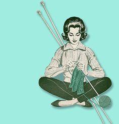 Knitting vintage girl