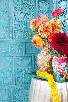 wall, dahlias, vases