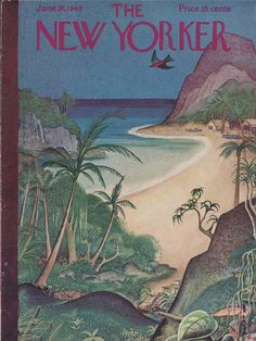 New Yorker cover Irvin tropical island huts 6/26 1943