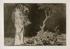 Prado - Los Disparates (1864) - No. 02 - Disparate de miedo - Goya. his etchings were most striking as they depicted no subject of genre, biblical or history. most of them are his own visions. most of them accusation against the powers of stupidity and reastion, of cruelty and oppression.