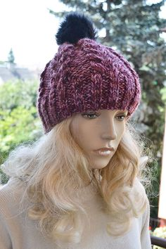 Knitted multicolor cap/hat  FUR POMPOM by DosiakStyle on Etsy