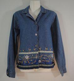 Agapo Faded Blue Denim Jean Jacket Embellished Fringe Floral Embroidery size S #Agapo #JeanJacket