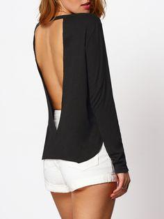 4ff4781ed5502d Black Split Side Cut Out Backless Blouse EmmaCloth-Women Fast Fashion Online