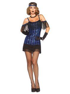 Elegantes 20er Jahre Damenkostüm Flapper blau-schwarz aus unserer Kategorie Sexy Damenkostüme. Mit diesem genialen Flapperkleid holen Sie die Goldenen 20er auf die nächste Mottoparty oder Faschingsparty! Ein Karnevalkostüm, mit dem Sie zum Star auf jeder Tanzfläche werden ...