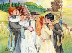 Harry Potter - Ron Weasley x Hermione Granger + Harry Potter x Ginny Weasley Harry James Potter, Fanart Harry Potter, Harry Et Ginny, Harry Potter Couples, Arte Do Harry Potter, Harry Potter Ships, Harry Potter Wedding, Harry Potter Fandom, Harry Potter Universal