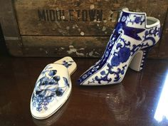 Vintage Blue and White / Victorian Shoe and Delft Like Wall Pocket by SunshineVintageGoods on Etsy