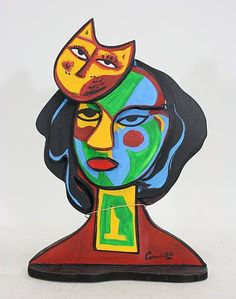Women and Cat. Corneille Guillaume Beverloo (1922 –  2010), better known as Corneille, was a Dutch artist. He was one of the founders of the REFLEX movement in 1948 and in 1949 he was also one of the founders of the COBRA movement, which has had great influence on Scandinavian art. Corneille was strongly influenced by Miró and Klee.