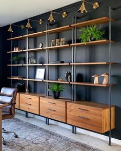 house and decor Home Office Shelves, Home Office Setup, Office Ideas, Office Workspace, Corner Shelves, Office Chairs, Lounge Chairs, Club Chairs, Wall Shelves