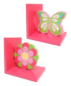 Take a look at this Pink Butterfly & Flower Bookend Set by Concepts on #zulily today!