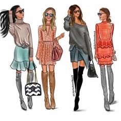 Love this Over-the-Knee Boot Trend By _______________________________ Best Friend Drawings, Bff Drawings, Urban Fashion, Fashion Art, Dress Illustration, Cute Friend Pictures, Cute Patterns Wallpaper, Knee Boot, Fashion Design Sketches