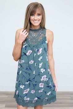 Shop our Crochet Lace Trim Floral Dress in Evergreen. Free shipping on all US orders!