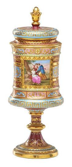 Royal Vienna Porcelain Jar & Lid Hand Painted Figures & Floral decoration with gilt highlights. c. 1901-1930
