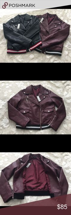 Romeo + Juliet Couture Faux Leather Jackets Faux leather moto jackets, beautiful and trendy super stylish .I think it's run small. I have black size S , and wine size L Romeo & Juliet Couture Jackets & Coats