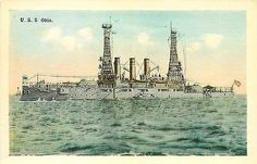 Battleship Ohio 1908 388 Feet Length Speed 18 Great White Fleet Vintage Postcard