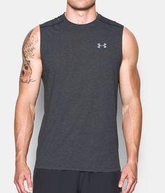 Men's UA Streaker Run Sleeveless, Carbon Heather, Front