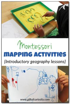 6 Montessori mapping activities to help children learn about geography. #5 was by far my kids' favorite! #Montessori #geography #mapping    Gift of Curiosity Montessori Classroom, Montessori Activities, Kids Learning Activities, Hands On Learning, Kindergarten Activities, Educational Activities, Preschool Writing, Preschool Ideas, Geography Activities