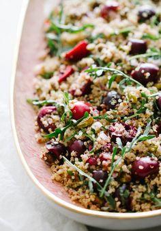 Cherry, Pistachio + Mint Quinoa Salad... A deliciously simple quinoa salad that's healthy as can be & super easy to make! #quinoa #glutenfree #summer #vegan