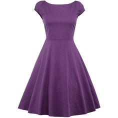 Knee Length Puffer Dress ($18) ❤ liked on Polyvore featuring dresses, knee high dresses, purple dress, puffy dresses, knee length dresses and puff dress