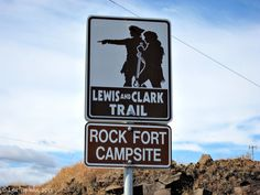 Image, 2011 - Lewis and Clark Trail Sign, Rock Fort, The Dalles, Oregon. Lewis And Clark Trail, Trail Signs, Pix Art, How To Pronounce, Columbia River Gorge, Pacific Northwest, North West, Marker, Vacations