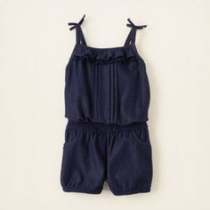 baby girl - dresses & rompers - rompers - knit denim romper | Children's Clothing | Kids Clothes | The Children's Place