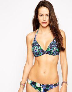 Bild 1 von ASOS – Lily – Geblümtes Bikinioberteil für die vollere Brust mit bedecktem Bügel in Körbchengröße DD bis G