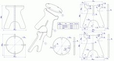 Collapsible stool - Parts and assembly drawing Woodworking Shows, Woodworking Furniture Plans, Woodworking Projects, Teds Woodworking, Collapsible Stool, Plywood Table, Cardboard Furniture, Kitchen Chairs, Diy Kitchen