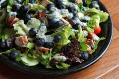 Blueberry Chicken Salad with Cheesy Herb Dressing~ Laughing Cow Cheese, minced herbs, vinegar, honey, salt and pepper make this dressing the star of this salad! Healthy Food Options, Healthy Salad Recipes, Soup Recipes, Diet Recipes, Herb Recipes, Herb Salad, Salad Bar, Soup And Salad, Blueberry Chicken