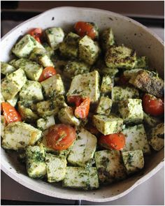 Tofu with herb paste and cherry tomatoes