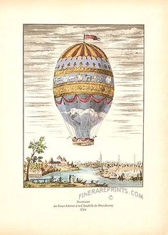 Vintage Hot Air Balloons  Vintage prints of hot air balloons of the 1700s and 1800s