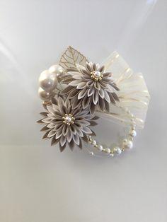 Ribbon Crafts, Minne, Hair Piece, Brooch, Building, Jewelry, Ribbon Flower, Porcelain Ceramics, Blue Prints