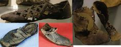 Medieval shoes.  Top row - Cut shoe from Stockholm Sweden 11th -  12th centuries C.E. Bottom row - complete leather shoe with hammer-head shaped toe. Decorated with slashes England: London 1550 C.E.; Medieval Leather Shoe, 15th century C.E. St. Albans, England; Childrens boots with decorative cutting, Stockholm, Sweden 11th -  14th centuries C.E.
