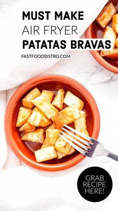 You can make the ultimate classic tapas in the Air Fryer. Super easy to make Air Fryer patatas bravas are a great snack or side dish. Serve with aioli or brava sauce. Want to try? Vist fastfoodbistro.com for the full recipe and instructions