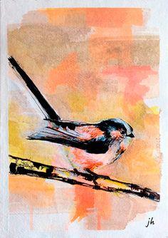 "{AVAILABLE} Mixed media painting: ""Long Tailed Tit"" #originalart #artforsale #jeanettehouse"