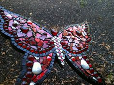"""15 1/2"""" x 13"""" Mosaic Butterfly Vitreous tile, glass gems, red mirror, silver glitter tiles, glass butterflies, plate shards, etc.  This is a Christmas gift for my daughter. :)"""