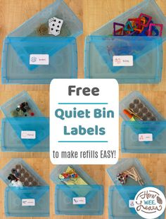 Check out these 8 quiet time box ideas for preschoolers and toddlers! These quiet bin labels make it so easy to organize quiet time for kids every week. Build fine motor skills, independence, problem solving, letter and number skills, and imaginative play all through independent play time each day! Quiet Time Activities, Activities For 2 Year Olds, Creative Activities For Kids, Toddler Learning Activities, Infant Activities, Preschool Activities, Nursery Activities, Quiet Time Boxes, Homeschool Preschool Curriculum