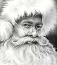 Just how Santa should look! Fine Art Portraits hand drawn on acid free papers with graphite by Carol Colestock.
